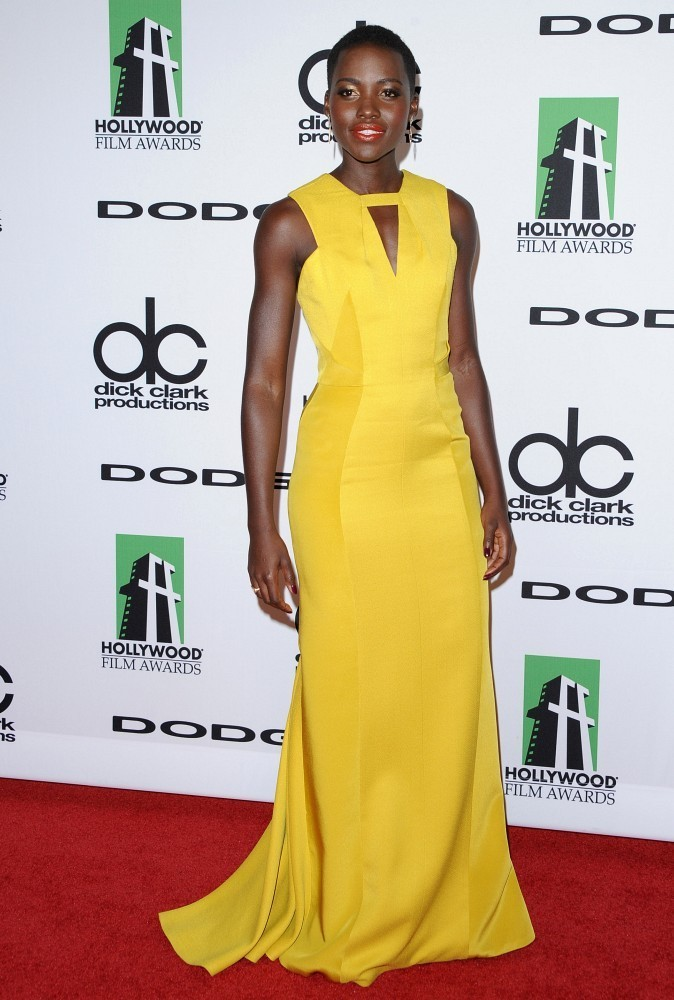 Red carpet arrivals at the 17th Annual Hollywood Film Awards Gala at the Beverly Hilton Hotel in Beverly Hills on October 21, 2013. Pictured: Lupita Nyong'o.