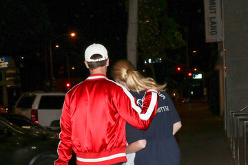 Abby Champion Patrick Schwarzenegger And Maria Shriver Outside Craig's Restaurant In West Hollywood