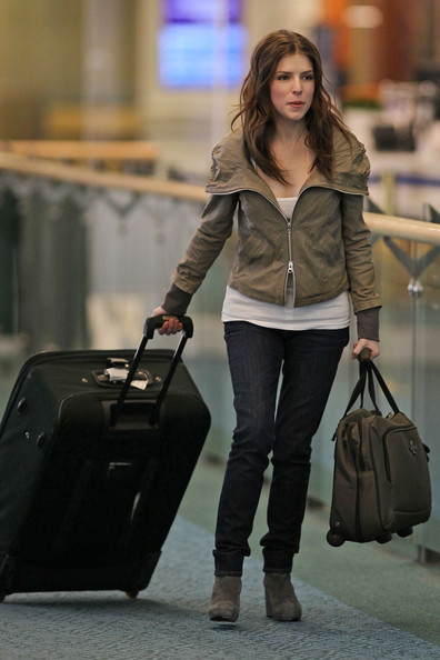 Anna Kendrick arrives at Vancouver International Airport (YVR) in high spirits as she prepares to get to work on the