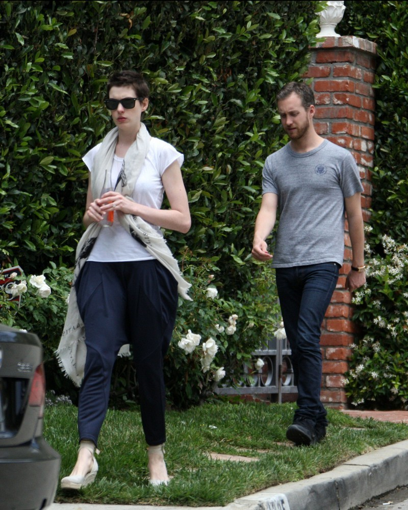 Anne Hathaway Out For A Walk