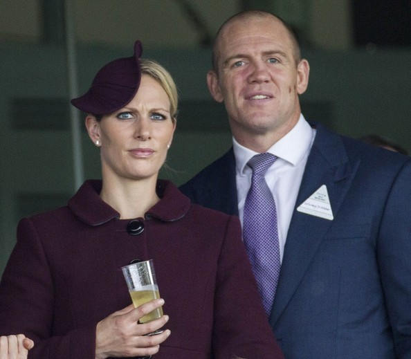 20th October, 2012:  Ascot races today. Here, Zara Phillips and husband Mike Tindall watch the races.