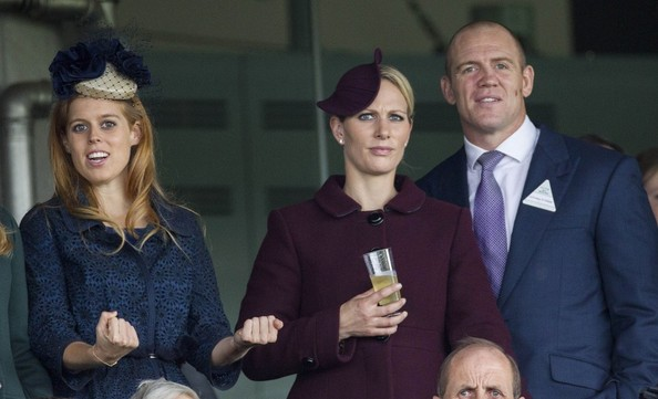 20th October, 2012:  Ascot races today. Here, Zara Phillips and husband Mike Tindall watch the races alongside Princess Beatrice.