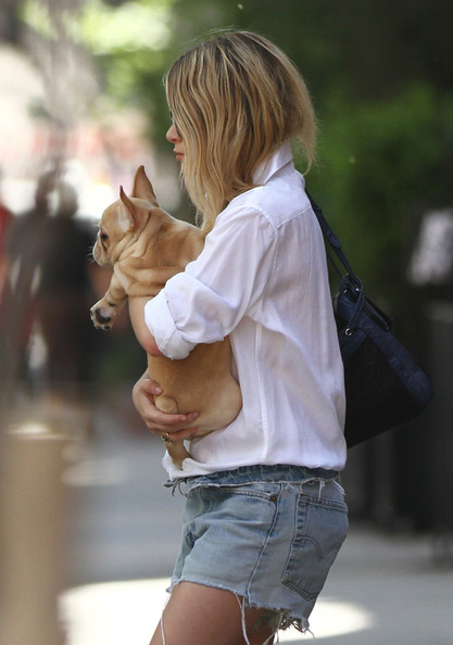 Ashley Olsen leaves her apartment carrying her French Bulldog.