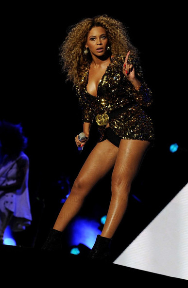 Beyonce Knowles Beyonce headlines on the pyramid stage at the Glastonbury Music Festival.
