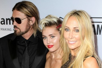 Billy Ray Cyrus Miley Cyrus Stands Out in Red at amfAR