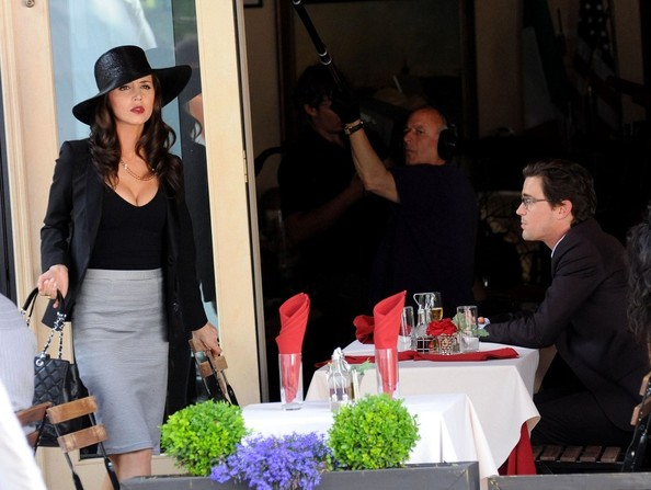 Matt Bomer and Eliza Dushku film a scene for 'White Collar' at a restaurant in the West Village.