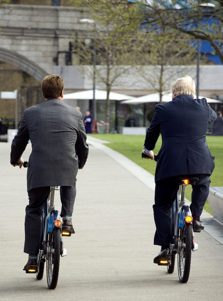 Arnold Schwarzenegger and Boris Johnson Bicycle by City Hall