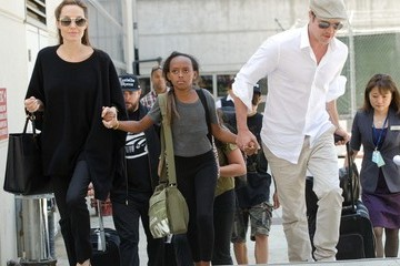 Brad Pitt Brad Pitt and Angelina Jolie Arrive at LAX