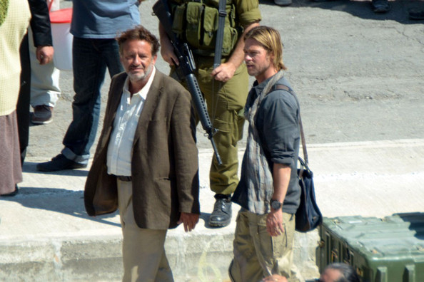 ***NO GERMANY/SWITZERLAND***.Brad Pitt continues filming World War Z along co-stars Marc Foster and Robert Richardson in Marsa besides the Catamaran Therminal.