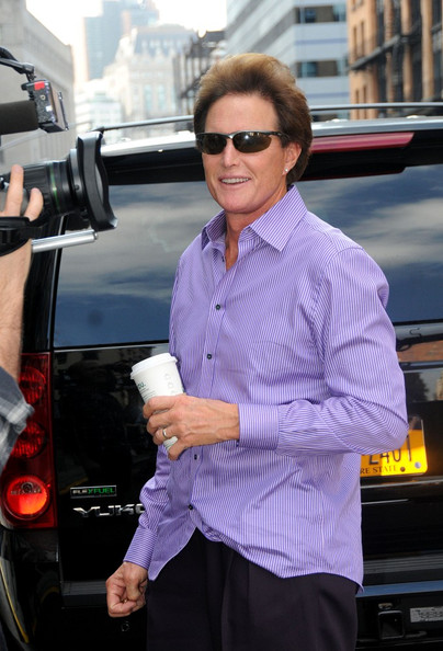 Bruce Jenner Bruce Jenner visits his stepdaughters Kourtney and Kim Kardashian in New York.