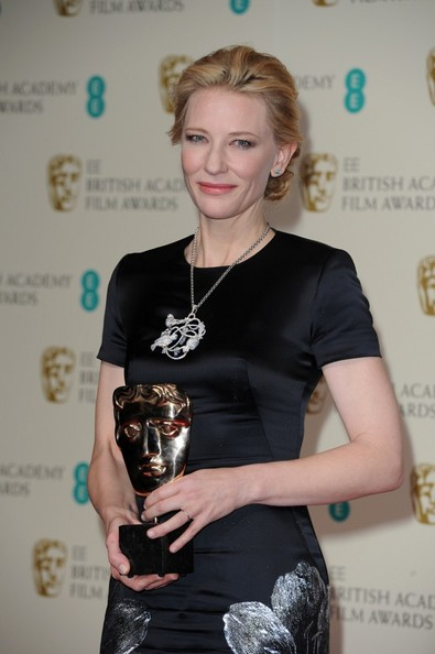 Cate Blanchett 16th February 2014.  The EE British Academy Film Awards 2014 Press Room held at the Royal Opera House, Covent Garden, London.Here, Cate Blanchett with her Best Actress award.