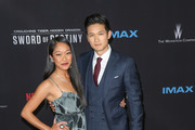 Harry Shum Jr and Shelby Rabara are seen arriving at the premiere of Netflix's 'Crouching Tiger, Hidden Dragon: Sword Of Destiny' held at AMC Universal City Walk.
