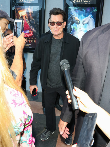 Charlie Sheen Outside ArcLight Theatre In Culver City
