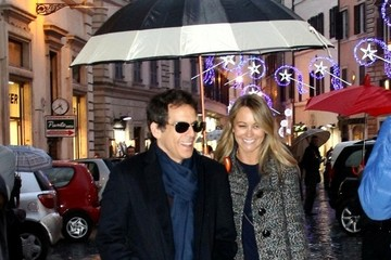 Christine Taylor Ben Stiller and Wife in Rome