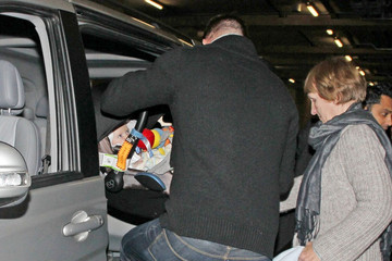 Ethan Smith Dannii Minogue and Family at Heathrow