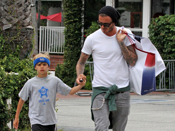 David Beckham David Beckham spends an afternoon with his second son, Romeo (b. September 1, 2002), shopping at Fred Segal.