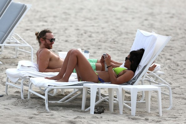 David Guetta hangs out at the beach in Miami on October 9, 2013.