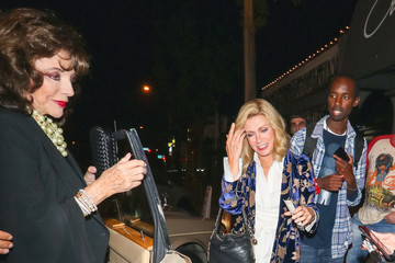 Donna Mills Joan Collins Outside Craig's Restaurant In West Hollywood