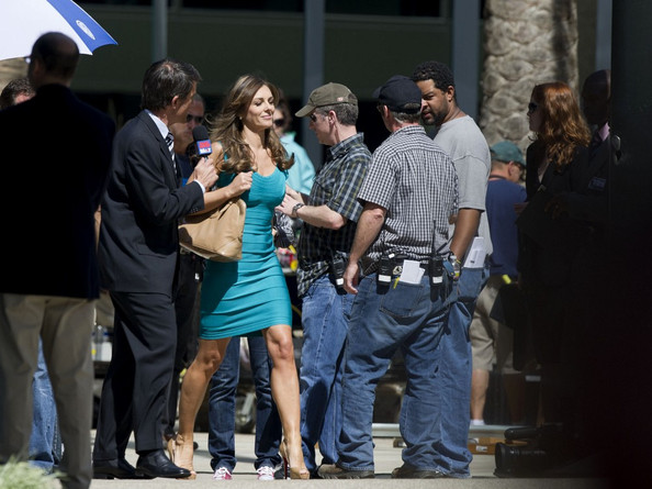 "Elizabeth Hurley Elizabeth Hurley is surrounded by members of the press while filming a scene from ""Wonder Woman"" in Los Angeles."