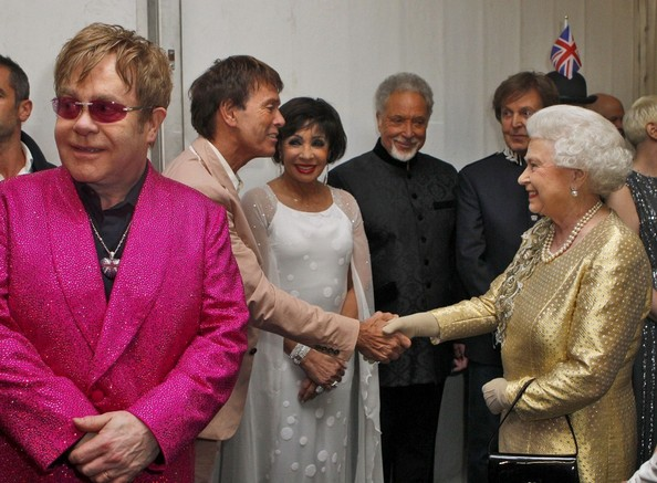 Sir Cliff Richard and Elton John - Backstage after the Diamond Jubilee concert