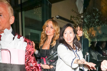Faye Resnick Kathy Hilton outside Mr Chow Restaurant in Beverly Hills