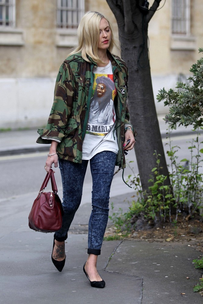 Fearne Cotton is seen wearing a Bob Marley t-shirt and her camo jacket.