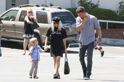 Josh Duhamel is seen in Los Angeles, California with wife Fergie and son Axl on June 25, 2017.