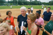 Former President Bill Clinton at the 2019 annual Writers & Artists softball game