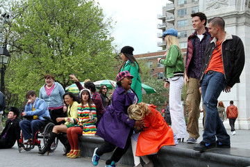 """Chris Colfer Cory Monteith """"Glee"""" Films in Washington Square Park"""