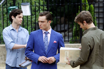 Chace Crawford Penn Badgley 'Gossip Girl' Films on the Upper East Side
