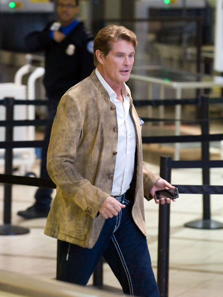 David Hasselhoff smiles and gives cameras a thumbs-up just days after news broke that ex-wife Pamela Bach will serve 90 days in jail for DUI related