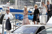 The Hilton family, Rick, Kathy, Paris, and Nicky, get all dressed up as they get on their yacht, the Lady Lola, to continue festivities during the 63rd Cannes Film Festival.