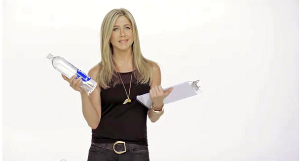 Jennifer Aniston Actress Jennifer Anniston advertises Smart Water marketed as 'Jen Aniston's Sex Tape' pictures show her drinking the water along with parrots, rainbows, dancing babies and dozens of adorable puppies.