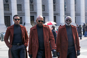 Jessie Usher Samuel L. Jackson and Richard Roundtree Perform on the Set of the 'Shaft'