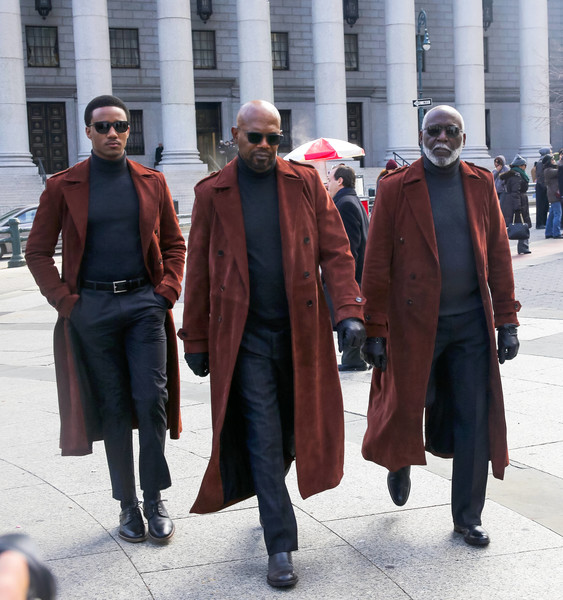 Samuel L. Jackson and Richard Roundtree Perform on the Set of the 'Shaft'