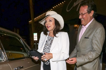 Joan Collins Joan Collins, Percy Gibson Outside Craig's Restaurant In West Hollywood