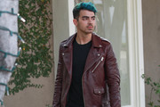 Joe Jonas and Hangs out in Leather and Blue