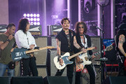 Johnny Depp is seen performing with his band Hollywood Vampires at 'Jimmy Kimmel Live' in Los Angeles, California on June 13, 2019.