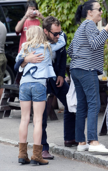 Jude Law Jude Law and his ex-wife Sadie Frost gather at the Swan Public House in Southrop for a lunch following the wedding of Kate Moss and Jamie Hince the previous day.