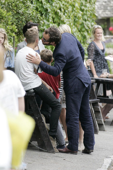 Jude Law Kate Moss and Jamie Hince's wedding guests are seen enjoying a day at The Swan pub in Southrop, the guests gathered for drinks and lunch before Kate and Jamie headed off on their honey moon.