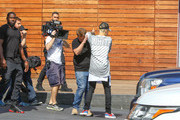 Justin Bieber and James Corden are seen shooting for Corden's show on October 15, 2015.