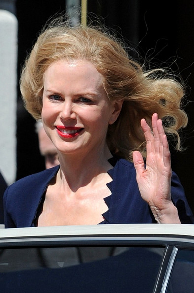 "Nicole Kidman is in costume for her role as Martha Gelhorn in the TV movie ""Hemingway & Gelhorn"" filming at the Herbst Theater. Her co-star, Clive Owen, also appears in full costume as the titular writer, Ernest Hemingway."