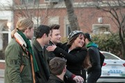 Lea Michele, Kevin McHale, Chord Overstreet on the set of 'Glee.'