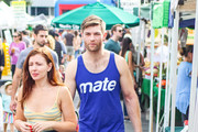 Liam McIntyre and Erin Hasan are seen in Los Angeles, California.