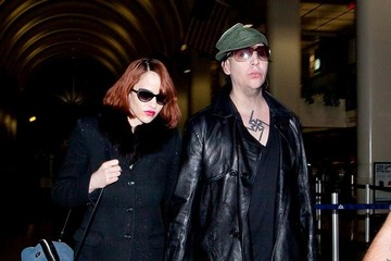 Lindsay Usich Marilyn Manson and Lindsay Usich at the Airport