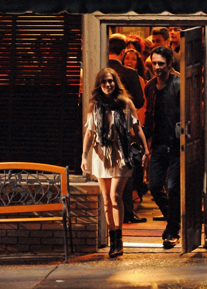 Jennifer Lopez gets up close and personal with Rodrigo Santoro on the set of 'What to Expect When You're Expecting'.