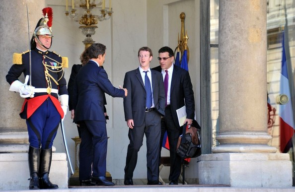Mark Zuckerberg Nicolas Sarkozy greets Mark Zuckerberg at the Elysee .
