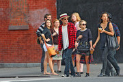 Mary-Kate Olsen walks through the East village with her artist boyfriend Nate Lowman and some friends.