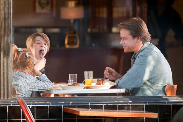 "Matt Damon has breakfast with actors Colin Ford and Maggie Elizabeth Jones in a scene for ""We Bought a Zoo""."