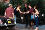 "BYLINE: EROTEME.CO.UK.Keira Knightley, Mark Ruffalo, James Corden in movie set ""Can a Song Save Your Life?"" in New York."